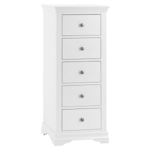 Maison White Painted Furniture 5 Drawer Wellington Chest - PRE ORDER