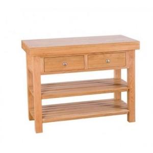 Evelyn Oak Kitchen Furniture Rectangular 2 Drawer Island with 2 Shelves