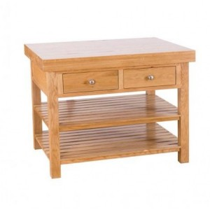 Evelyn Oak Rectangular Kitchen Island With 2 Drawers & 2 Shelves