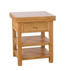 Evelyn Oak Square Kitchen Island With 1 Drawer & 2 Shelves