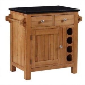 Evelyn Oak and Granite Small Kitchen Island With Wine Rack