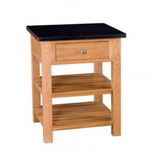 Evelyn Oak and Granite Square Kitchen Island With 1 Drawer & 2 Shelves