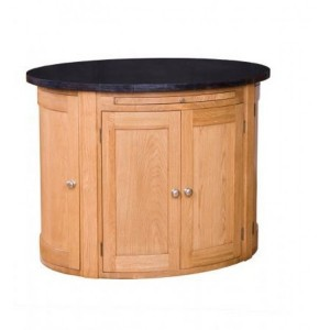 Evelyn Oak and Granite Oval 6 Door Kitchen Island with Fixed Shelf