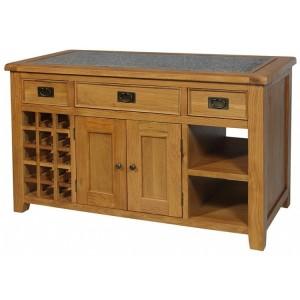 Sussex Oak Furniture Kitchen Island with Granite Top