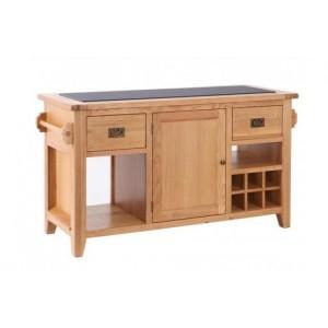 Vancouver Premium Solid Oak Granite Top 1 Door 2 Drawer Large Kitchen Island Unit