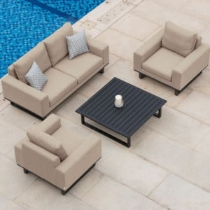 Maze Fabric Garden Furniture Ethos Taupe 2 Seat Sofa Set