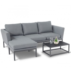 Maze Fabric Garden Furniture Pulse Flanelle Chaise Sofa Set