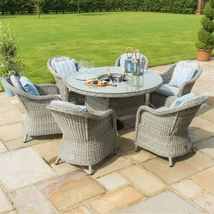 Maze Rattan Oxford 6 Seater Round Ice Bucket Set With Heritage Chairs