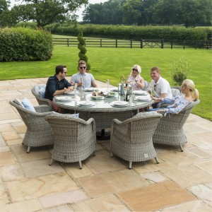 Maze Rattan Oxford 8 Seater Round Ice Bucket Table & 8 Heritage Chairs