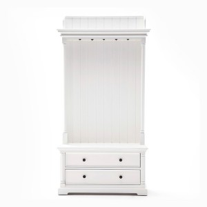 Provence White Painted Furniture Coat Hanger Unit With 2 Drawers