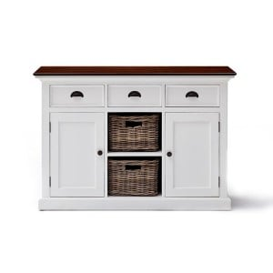 Halifax Accent Painted Furniture Buffet 3 Drawer With 2 Baskets