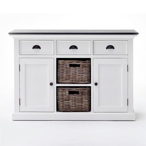 Halifax Contrast Painted Furniture Black Top Buffet With Basket Storage