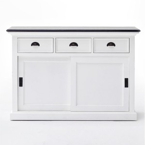 Halifax Contrast Painted Furniture Black Top Sideboard With 2 Sliding Doors