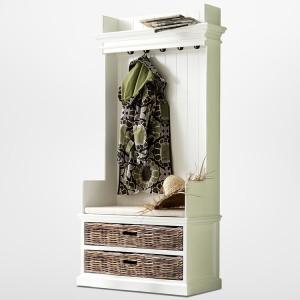 Halifax Painted Furniture Coat Hanger With Bench & Storage Baskets