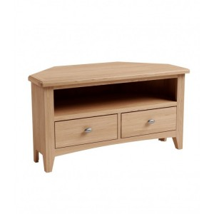 Exeter Light Oak Furniture Corner TV Unit