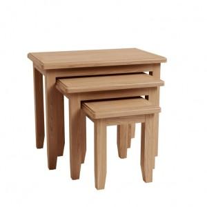 Exeter Light Oak Furniture Nest Of 3 Tables
