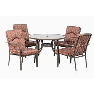 Royalcraft Amalfi Stripe 4 Seater Round Dining Set