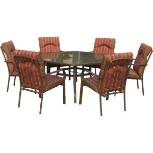 Royalcraft Amalfi Stripe 6 Seater Hexagonal Dining Set