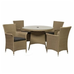 Royalcraft Bali 4 Seater Round Carver Dining Set