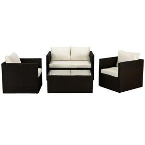 Royalcraft Cannes Ebony Black 4 Seater Fixed Sofa Set