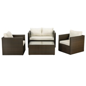 Royalcraft Cannes Mocha Brown 4 Seater Fixed Sofa Lounging Coffee Set