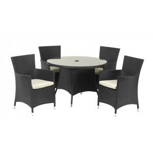 Royalcraft Cannes Ebony Black 4 Seater KD Round Dining Set