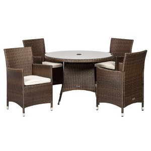 Royalcraft Cannes Mocha Brown 4 Seater Round Dining Set