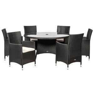 Royalcraft Cannes Ebony Black 6 Seater KD Round Dining Set