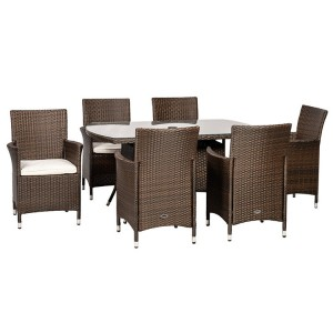 Royalcraft Cannes Mocha Brown 6 Seater Rectangular Dining Set