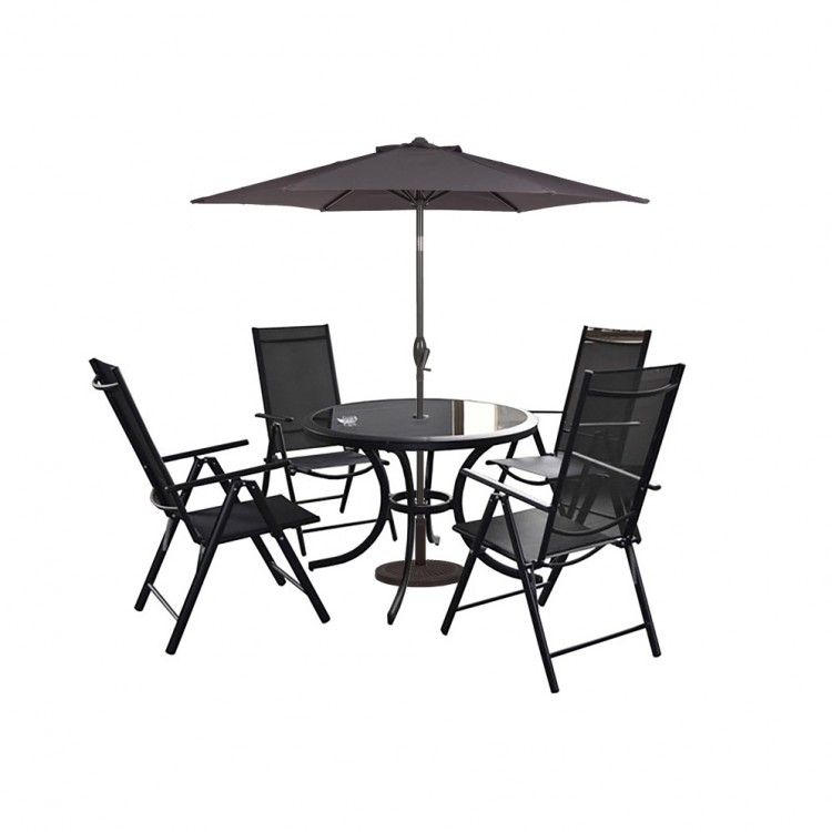 Royalcraft Cayman 4 Seater Round Recliner Dining Set With Parasol 102cm