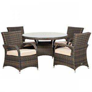 Royalcraft Dallas Brown 4 Seater Round Dining Set