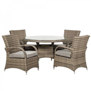 Royalcraft Dallas Grey 4 Seater Round Dining Set