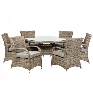 Royalcraft Dallas Grey 6 Seater Round Dining Set