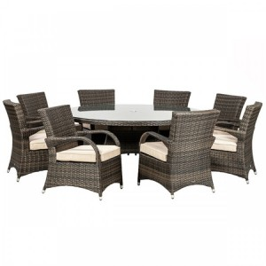 Royalcraft Dallas Brown 8 Seater Round Dining Set