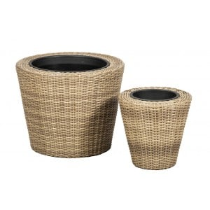Royalcraft Genoa Set Of 2 Wentworth Weave Round Planters