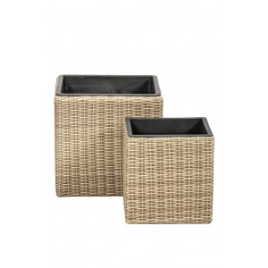 Royalcraft Genoa Set Of 2 Wentworth Weave Square Planters