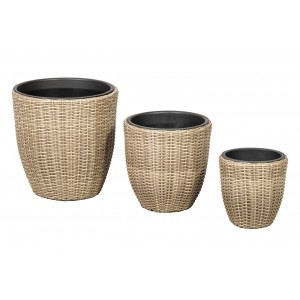 Royalcraft Genoa Set Of 3 Wentworth Weave Round Planters