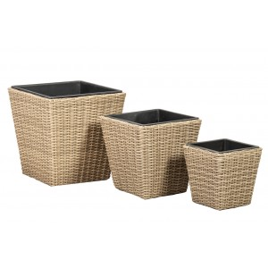 Royalcraft Genoa Set Of 3 Wentworth Weave Square Planters