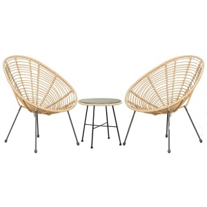 Royalcraft Monaco 8mm Bamboo Style 3 Piece Egg Chair Set