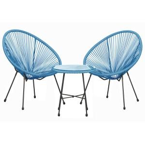 Royalcraft Monaco Blue 3 Piece Egg Chair Set