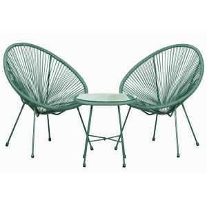 Royalcraft Monaco Emerald Green 3 Piece Egg Chair Set