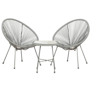 Royalcraft Monaco Grey 3 Piece Egg Chair Set