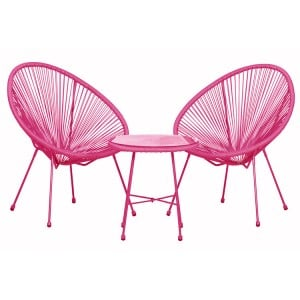 Royalcraft Monaco Pink 3 Piece Egg Chair Set