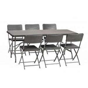 Royalcraft Palermo Rattan Effect 6 Seat Rectangular Folding Dining Set