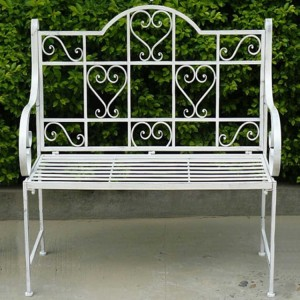 Royalcraft Romance Antique White 'Hearts' 2 Seater Bench