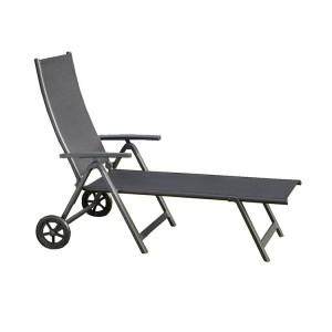 Royalcraft Sorrento Black Wheeled Folding Sun Lounger