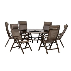 Royalcraft Florence 6 Seater Round Dining Recliner Dining Set