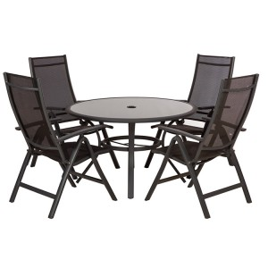 Royalcraft Sorrento Black 4 Seater Round Dining Recliner Set