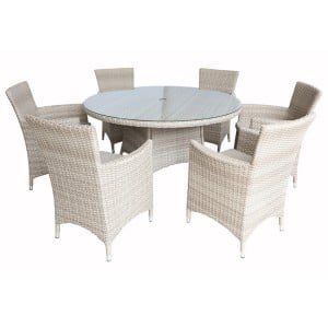 Royalcraft Lisbon 6 Seater Round Carver Dining Set