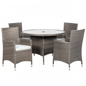 Royalcraft Marlow 4 Seater Round Dining Set & Weather-Shield Cushions